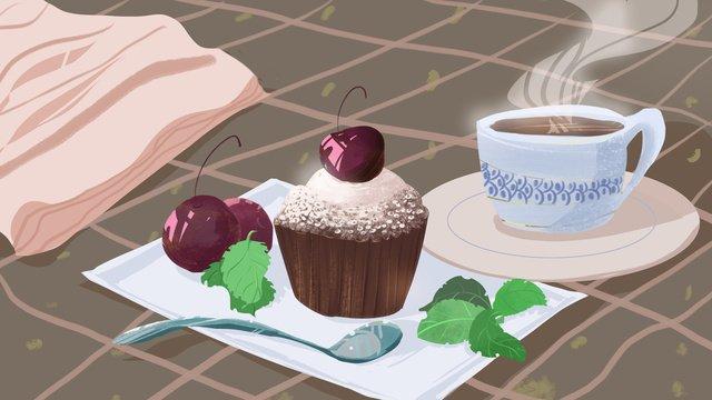 原創插畫下午茶甜品小蛋糕 插畫素材 插畫圖片