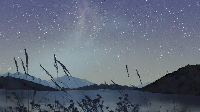 癒しの夜の屋外の星空イラスト イラストレーション画像