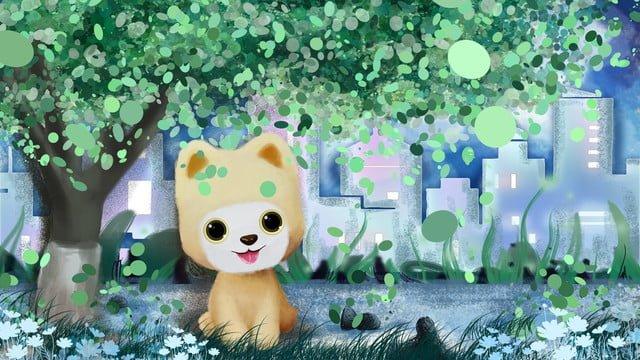 治愈系q萌小狗可愛萌卡通手繪 插畫素材 插畫圖片