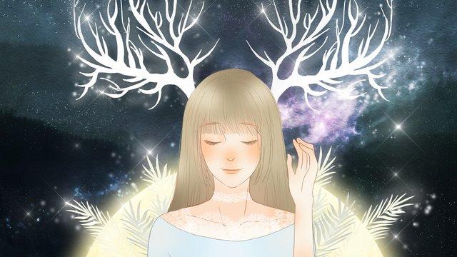 ロマンチックな美しい星空の下で枝角の少女を癒す イラストレーション画像