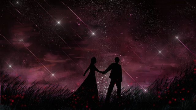 Healing romantic Beautiful Starry sky, Couple, Walking, In Love illustration image
