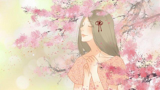 桜の木の下で願いをロマンチックで新鮮な女の子を癒し イラスト素材 イラスト画像