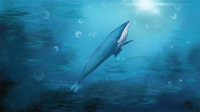 治愈系深海鯨魚海草 插畫素材 插畫圖片