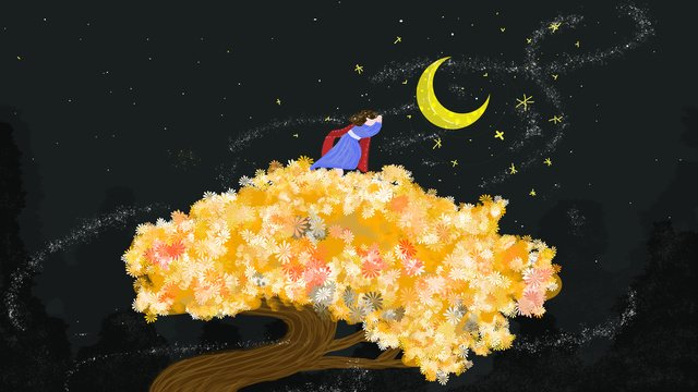 healing system small fresh night starry sky moon ginkgo tree little girl illustration llustration image