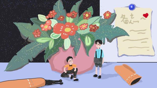 鉢植えの小さなクリアバルコニーの小さな世界イラストを癒す イラストレーション画像