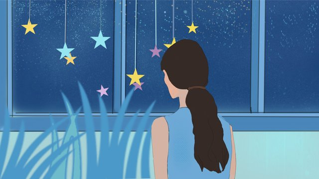 Healing the starry sky alone in front of window, Healing, Starry Sky, A Person illustration image