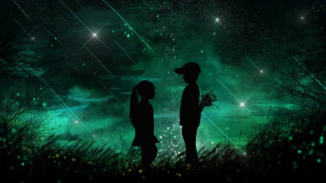 星のロマンチックな美しさの下で男の子と女の子を癒す イラスト素材