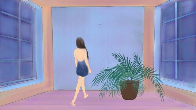 การรักษาหญิง starry girl เดินเล่น ภาพ