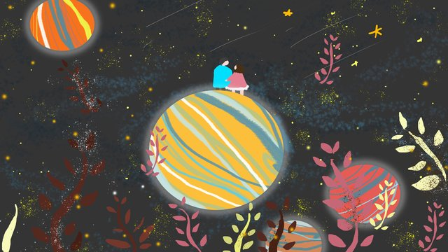 healing small fresh dream starry sky planet night branch couple illustration llustration image illustration image