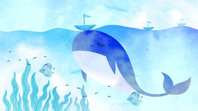 Healing watercolor texture deep sea whale, Healing, Whale, Small Fish illustration image