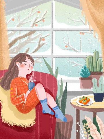 Snowy day small fresh illustration, Heavy Snow, Solar Terms, Snowy Day illustration image