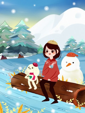 snowy winter snowing woods small animals cold forest llustration image