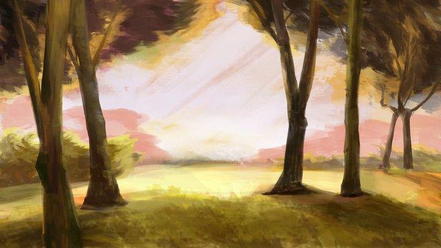 夕暮れの夕暮れの図で秋の森 イラスト素材 イラスト画像