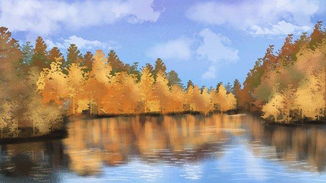 Autumn hello blue sky white clouds hand drawn illustration, Hello Autumn, Autumn Is Cool, Blue Sky And White Clouds illustration image