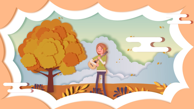 Hello autumn, Hello Autumn, Autumn Scenery, Singing Autumn illustration image