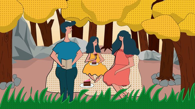 autumn hello kids 엄마 아빠 파크 가을 여행 피크닉 삽화 소재 삽화 이미지