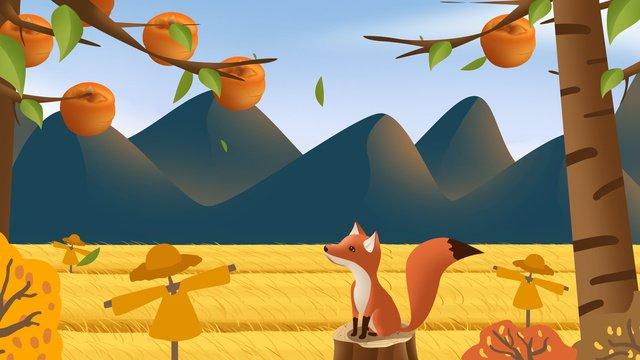 만화 가을 안녕하세요 춘분 일러스트 레이션 삽화 소재 삽화 이미지