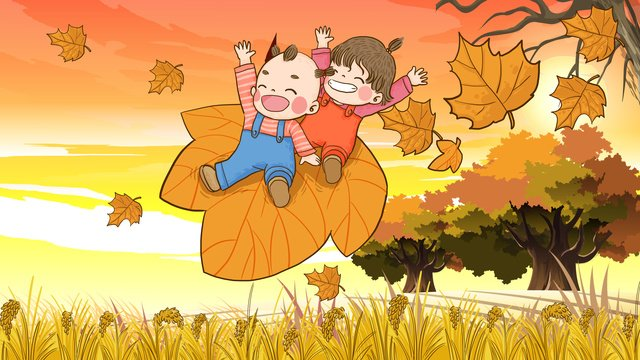autumn hello kids are located in the leaves falling hand painted original illustration llustration image