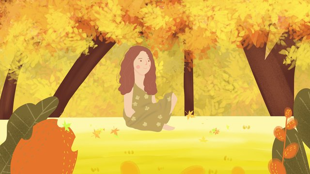 Autumn hello girl in the woods, Hello Autumn, Fall, Festive Festival illustration image
