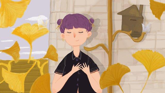 chào mùa thu cô gái đứng trong lá bạch quả rơi Hình minh họa
