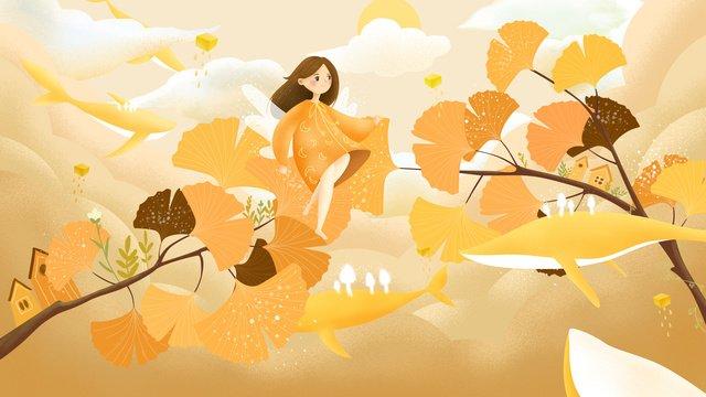 원래 손으로 그린 그림 고래와 함께을 hello 소녀 삽화 소재
