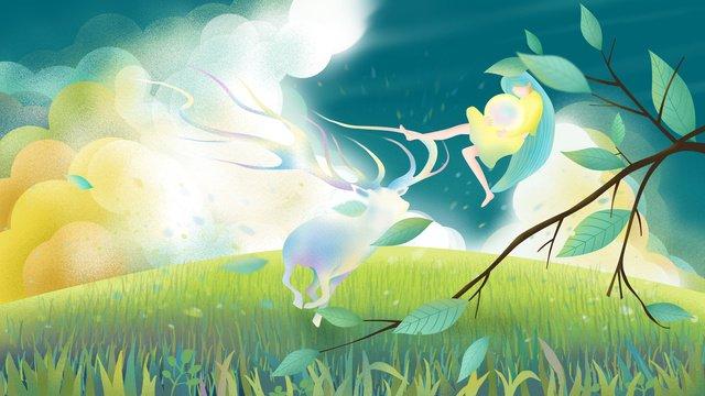 원래 손으로 그린 그림가 hello 사슴 소녀와 함께 삽화 소재