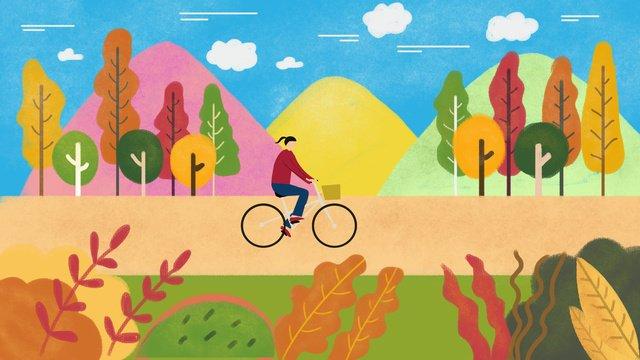 산 단풍 나무 아래가 hello 소녀 삽화 소재 삽화 이미지