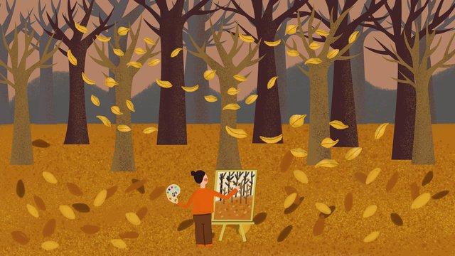 mùa thu xin chào cô gái gỗ Hình minh họa Hình minh họa