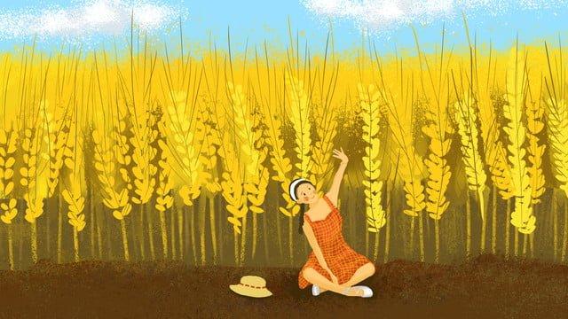 秋のこんにちはオリジナルイラスト麦畑の少女 イラスト素材 イラスト画像