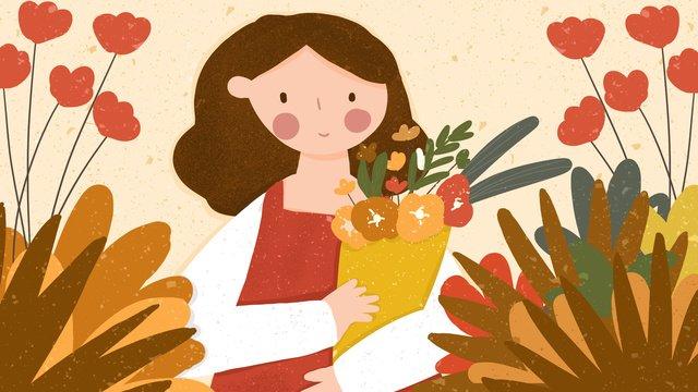 autumn hello fall girl hand drawn small fresh illustration llustration image illustration image