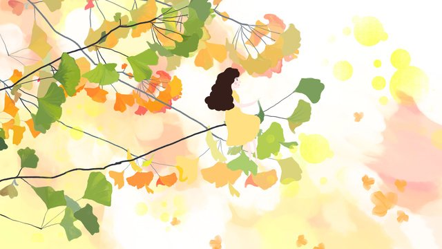Autumn hello ginkgo leaves, Hello Autumn, Ginkgo Biloba, Girl illustration image
