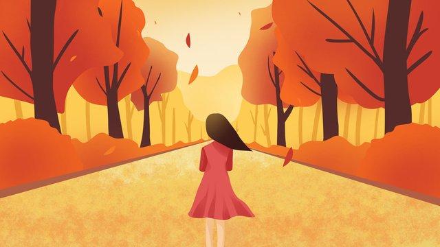 Hello autumn girl walking, Hello Autumn, Autumn, Autumnal illustration image