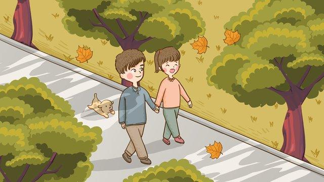 autumn hello couple walking on the deciduous trail hand drawn original illustration llustration image