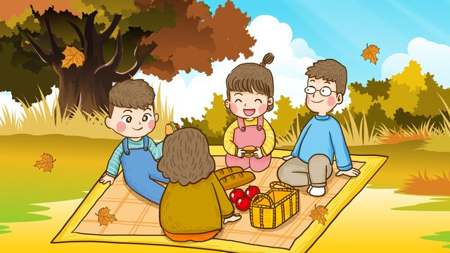 autumn hello whole family camping dinner hand drawn original illustration llustration image illustration image