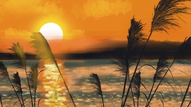 Autumn hello sunset hand drawn illustration, Hello Autumn, It's A Cool Autumn, Autumn Is Cool illustration image