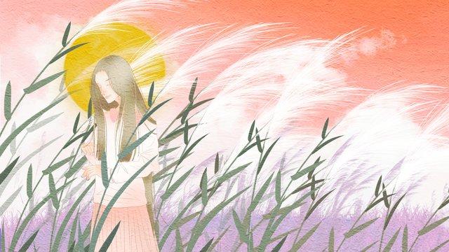 こんにちは、おはようございます、葦の中の少女 イラスト素材