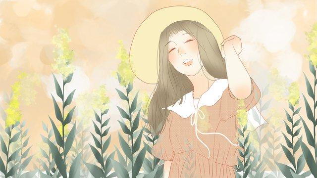 こんにちは、朝は帽子をかぶった女の子 イラスト素材 イラスト画像