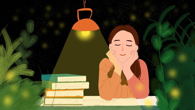 Hello good night little girl reading a book, Hello Goodnight, Good Night, Girl illustration image