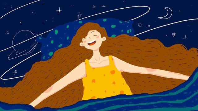 hello good night sleepy girl llustration image