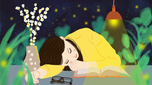 Hello good night beautiful little girl sleeping, Hello Goodnight, Good Night, Small Fresh illustration image
