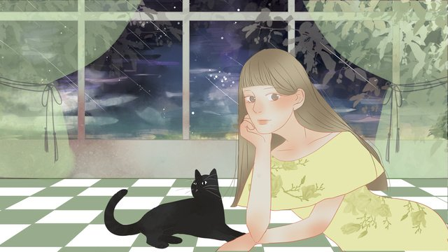 hello good night young girl and black cat llustration image