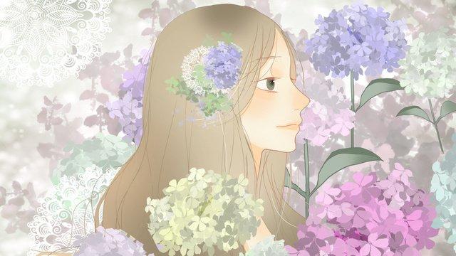八月你好浪漫清新盛開的繡球花與少女 插畫素材