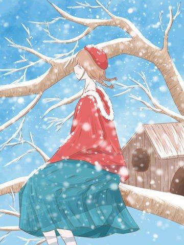 1 월 안녕하세요 신선한 수채화 그림 눈을보고 나무에 앉아 소녀 삽화 소재 삽화 이미지