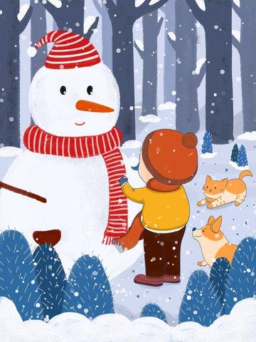 안녕하세요 1 월 눈사람 아이와 그의 애완 동물 삽화 소재 삽화 이미지