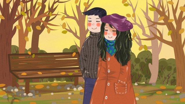 こんにちは、11月の晩秋夫婦公園散歩 イラスト素材 イラスト画像