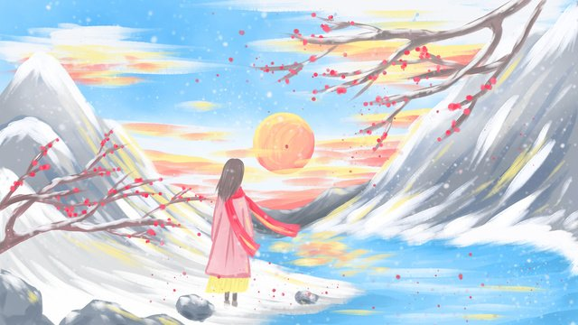 november hello illustration winter girl watching the sunset after snow llustration image
