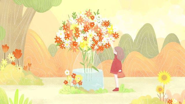 original small fresh illustration october hello girl looking at flowers llustration image