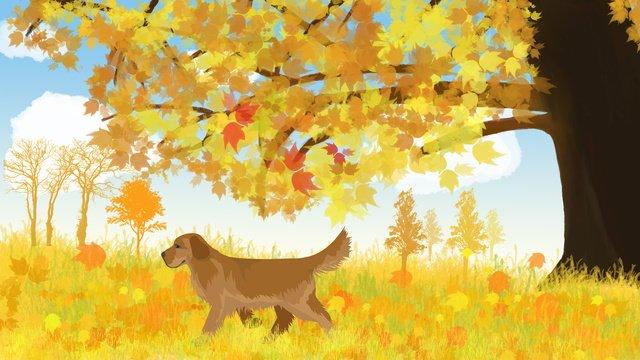 10月、こんにちは、犬は大きくて大きな木の下で新鮮です イラスト素材