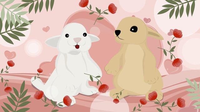 Hello november two rabbits llustration image
