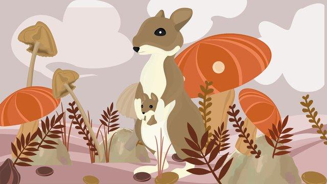 नमस्ते नवंबर मशरूम और खरगोश चित्रण छवि